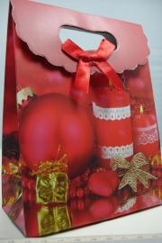 *[ 5958 ] Kerst Tasje  12.5 x 16 cm. Kaarsen, per stuk