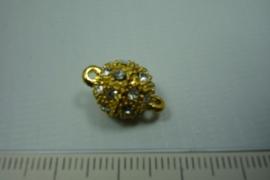 [ 0757 ] Magneet slot 10 mm. met strass, Goudkleur, per stuk