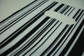 [ 8245 ] Tas 25 x 20 cm. Zwart/Wit gestreept, 100 stuks