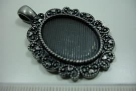 [ 0857 ] Cabochon houder 40 x 32 mm. Antraciet, per stuk