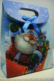 *[ 5959 ] Kerst Tasje 12.5 x 16 cm. Slee met kadootjes, per stuk