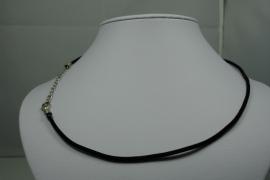 [ 5856 ] Ketting met slotje, Zwart Fluweel, 45 cm. per stuk