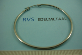 [ 8509 ]  RVS  Oorring Creool 50 mm.  per paar