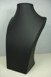 *[ 9205 ] Hals Luxe Zwart Leer, Klein 25 cm.