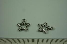 [ 1288 ] Balinees STER 14 x 12 mm. Zilverkleur, per stuk