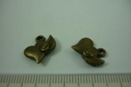 [ 1240 ] Hartje met vleugel  14 x 13.5 mm. Brons, per stuk