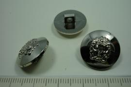 [ 0885 ] sluit knoop 18 mm. Kunstof, Zilver, per stuk