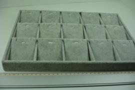 *[ 9364 ] 15 Vaks open bak 35 x 24 cm. met show schotjes, Grijs fluweel