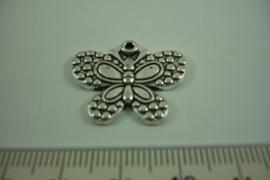 [ 1266 ] Vlinder  21 x 24.6 mm.  Zilverkleur, per stuk