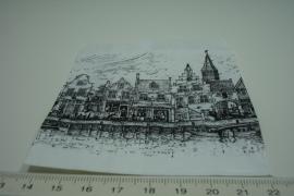 [ 8262 ] Papieren zakjes  9 x 9 cm. Gevel huisjes, 50 stuks