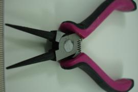 +[ 8492 ] Rondbek tang  grof handvat, Roze met zwart, per stuk