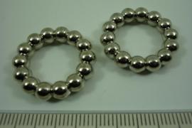 [ 7042 ] Balinees Ring 24 mm.  crome kleur, per stuk
