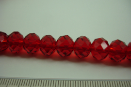 [ 8460 ] Glaskraal Spacer 10 mm. donker Rood, per streng