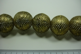 [ 8758 ] Licht Metaal kraal 20 mm. Oud Goud, streng 8 stuks