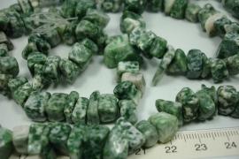 *[ 5746 ] Jaspis Wit/Groen, per streng 90 cm.
