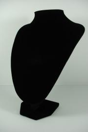 *[9044 ] Hals Punt Zwart Fluweel, Middel 28 cm.
