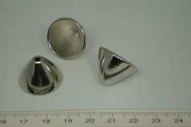 [0564 ] Kap rond glad puntig, 18 mm. Zilverkleur, per stuk