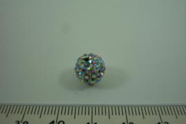 [ 1011 ] Shambals kraal 10 mm. Zilver AB, per stuk
