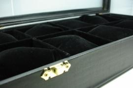 *[ 9140 ] 10 vaks bak met deksel en kussentjes, 39x19x7 cm. Zwart
