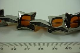 [ 6469 ] Glas kraal Ster 18 mm. Bruin met Zilverrand, 18 stuks