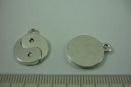 [ 1250 ] Jing-Jang  18 x 15 mm. Zilverkleur, per stuk