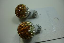 [ 6219 ] Double Dots Oorbel Oranje/Zilver Glitter, per paar