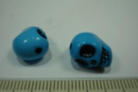[ 0510 ] Doodshoofdje 12 mm. Blauw Kunststof, per stuk