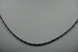 [ 6274 ] Ketting 60 cm. bewerkt, Glans Zwart, per stuk