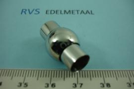 [ 6982 ] RVS, Bol  8 mm. inlijm Magneet slot, per stuk