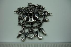 [ 6182 ] Ornament 37 x 35 mm. nr. 21, Zilverkleur, 5 stuks