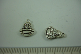 [ 1277 ] Lachende Boeddha 14 mm. Zilverkleur, per stuk