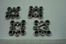 [ 6178 ] Ornament 14 x 14 mm. nr. 96, Zilver kleur, 4 stuks