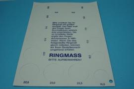 [5531 ] Ringen maat kaart, per kaart