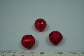 [0592 ] Zilverfolie kraal Rood, rond 15 mm.  per stuk