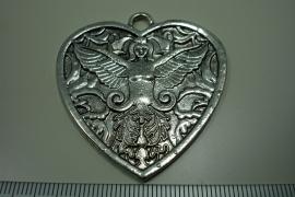[ 0957 ] Hart Hanger  50 mm. Metaal Zilverkleur, per stuk