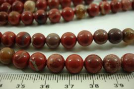 [ 8637 ] Rode Jaspis  8 mm.  per streng 39 cm.