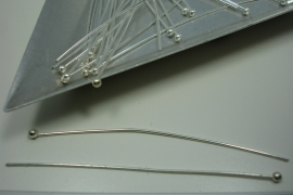 [ 6145 ] Bolstift  50 mm. Verzilverd, 28 stuks