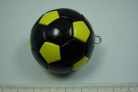 *[ 5643 ] Voetbal Zwart Geel, 40 mm.