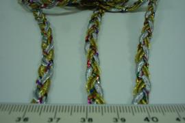 [ 7118 ] Gevlochten koorden 6 mm. in Goud/Zilver/Ass. kleur. 3 x 1 meter