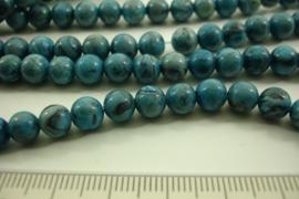 [ 8585 ] Blauwe Tijgeroog  6 mm.  per streng 39 cm.