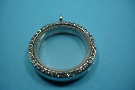 [ 6241 ] Locker Rond 31 mm. Zilverkleur met Glitter, per stuk