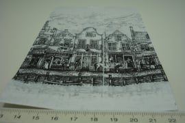 [ 8263 ] Papieren zakjes 10 x 15 cm. Gevel Huisjes,  50 stuks