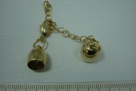[0458 ] Inlijmkap 8 mm. met slot, Goudkleur, per set