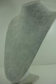 *[ 9315 ] punt Hals 35 cm. Grijs Fluweel, per stuk