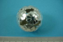 [ 6816 ] Filigrein kraal 20 mm.  Bloem, Verzilverd, per stuk