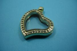 [6239 ] Locker Hartje krom 28 mm. Goudkleur met Glitter, per stuk