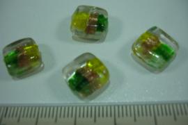 [ 0117 ] Glaskralen plat vierkant 10 mm.  Helder met .., per 10 stuks