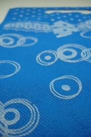 [ 8276 ] Non Woven tas 19.5 x 22 cm. Blauw, 10 stuks
