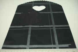 [ 8241 ] Tasje 21 x 13 cm. Zwart Grijs geblokt met Paarse bloem, 50 stuks