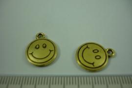 [ 1222 ] Smilie 15.8 x 12.8 mm. Goudkleur, per stuk